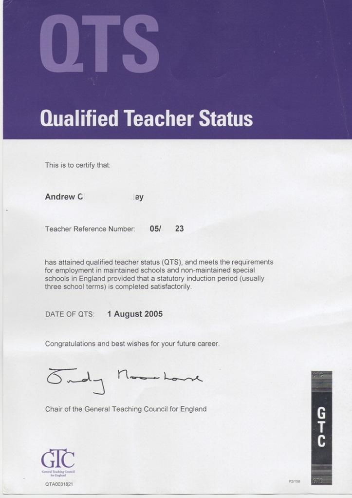 QTS certificate